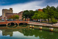 Bridge over the Providence River in Providence, Rhode Island. Royalty Free Stock Photo