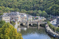 Bridge over the rive Ourthe in La Roche-en-Ardenne Royalty Free Stock Photo