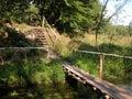 The bridge over the river belarus Stock Photo