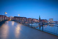 Bridge over river in bremen at night netherlands Stock Image