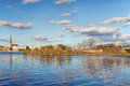 Bridge over river Daugava Royalty Free Stock Photo