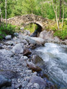 Bridge over river french alps Royalty Free Stock Photos
