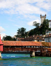 Bridge over the river in Luzern Royalty Free Stock Photo