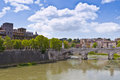 Bridge over the River Tiber in Rome Stock Image