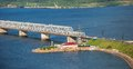 Bridge over the river volga imperial in ulyanovsk Royalty Free Stock Photography