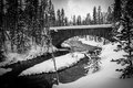 Bridge over river in winter, Yellowstone Royalty Free Stock Photo