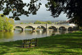 Bridge over the river Wye in Builth Wells, Wales. Royalty Free Stock Photo