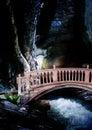 Bridge over rushing stream Royalty Free Stock Photo