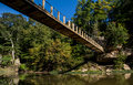 Bridge over sugar creek at turkey run a suspension spans state park in marshall indiana Stock Photos
