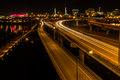 Bridge over the willamette river at night a in portland oregon glows Royalty Free Stock Image