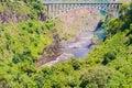 Bridge over the zambezi river victoria falls at fall at boarder crossing between zimbabwe and zambia Stock Photography