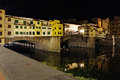 Bridge ponte vecchio in florence italy night view Royalty Free Stock Photography