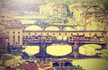 Bridge ponte vecchio in florence italy vintage effect retro Royalty Free Stock Image