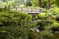 Bridge in Portland Japanese Garden Stock Photo