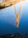 Bridge reflexion of the swietokrzystki in vistula river in warsaw poland Royalty Free Stock Photos