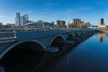 Bridge through the river in chelyabinsk Stock Photography