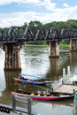 Bridge on river kwai built during wwii across the part of the thailand to burma railway Royalty Free Stock Photos