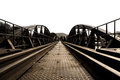 Bridge river kwai over in kanchanaburi thailand Royalty Free Stock Photo