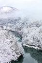 Bridge On A River With Snow Mo...