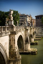 Bridge in rome italy ponte sant angelo aelian or pons aelius Stock Photography