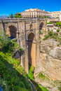 Bridge of Ronda, one of the most famous white villages of Malaga Royalty Free Stock Photo