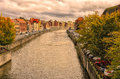 Bridge on the scheldt river view of in tournai a cloudy afternoon Royalty Free Stock Images