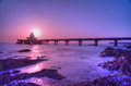 Bridge in the sea a yan tai city of china when sun goes up Royalty Free Stock Photos
