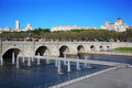 Bridge of segovia fountains royal palace and cathedral nuestra senora de la almudena in madrid spain Stock Photos