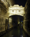 The Bridge of Sighs by floodlight, Venice Stock Photo
