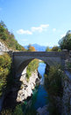 Bridge on the soca river slovenia view of kobarid europe Stock Photo