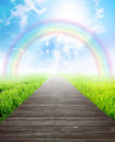 Bridge in summer landscape with rainbow Royalty Free Stock Photo