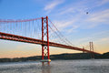 Bridge of th april in lisbon Royalty Free Stock Photo