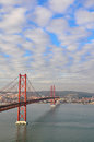 Bridge of th april in lisbon portugal Stock Photography