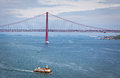Bridge of th april over tagus river lisbon portugal in Royalty Free Stock Photo