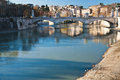 Bridge on tiber river in rome st angel italy Royalty Free Stock Photography
