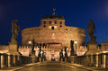 The bridge to the castel sant angelo rome italy in Stock Photo