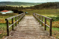 Bridge to the farm landscape with access a in virginia Stock Photo