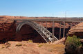 Bridge to glen canyon dam the beautiful arched that leads near page arizona Stock Photos