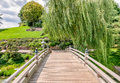 Bridge to Japanese Garden area in Chicago Botanic Garden. Royalty Free Stock Photo