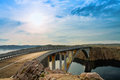 Bridge to the Pag island with sun and clouds, Croatia Stock Photos