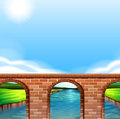 A bridge under the bright sun illustration of Stock Photos
