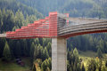 Bridge under construction scaffolding and a in the valais in switzerland Stock Images