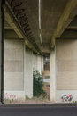 Bridge Underpass Perspective Leading Lines Street Outdoors Graffiti Royalty Free Stock Photo