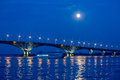 Bridge on the Volga river between the cities of Saratov and Engels, summer evening Royalty Free Stock Photo