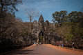 Bridge with warriors statues at the entrance of angkor Stock Image