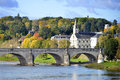 Bridge of wilson at tours in france old on the river loire and church city central the capital the indre et loire department Royalty Free Stock Photography