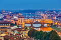 Bridges in florence at night italy Stock Photography