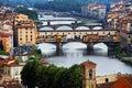 Bridges over Arno River, Florence Stock Photo
