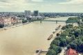 Bridges over the Danube river in Bratislava city, Slovakia, retr