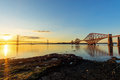 The bridges in south queensferry two over firth of forth scotland Royalty Free Stock Photo